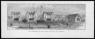 1883 Antique Print - NORTHUMBERLAND Whitley Bay Tynemouth Village Homes (50)
