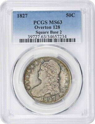 1827 Bust Silver Half Dollar Square Base 2 Overton 128 MS63 PCGS