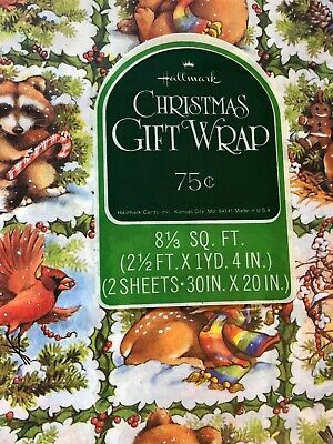vtg Hallmark ANIMALS Gift Wrap CHRISTMAS Woodland WRAPPING PAPER lot 3 pkg 1970s