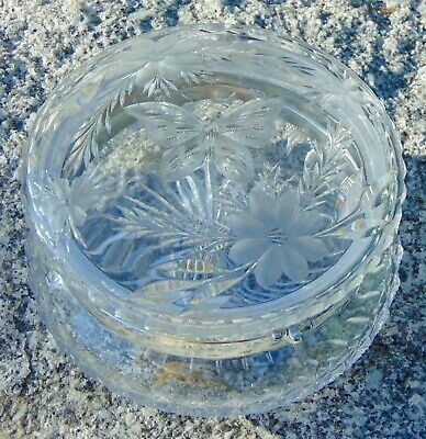 STUNNING! ANTIQUE ABP Powder Box PAIRPOINT Cut Glass BUTTERFLY Big!