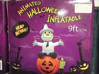 NEW- 9Ft Animated Halloween ScareCrow/Pumpkin Airblown Inflatable Head Moves