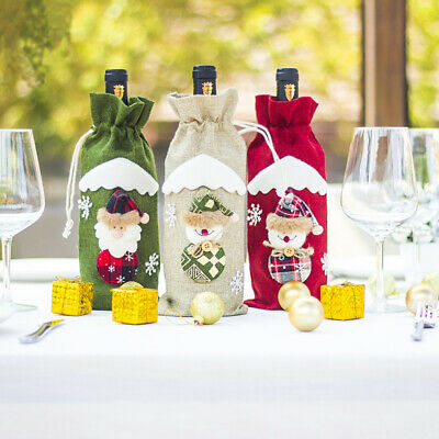 Christmas Santa Claus Wine Bottle Covers Bags Decoration Home Party Dinner Set