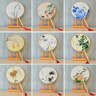Chinese Style Round Hand Held Folding Silk Fan For Wedding Event Party Gifts~YJ