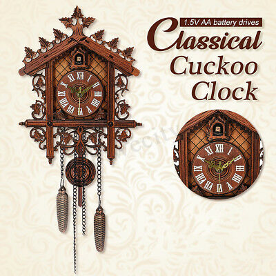 Handcraft Wooden Cuckoo Bird Clock House Style Wall Clock Vintage Home