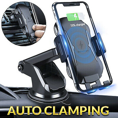 Automatic Clamping Qi Wireless Phone Holder Car Charging Charger Mount Air Vent