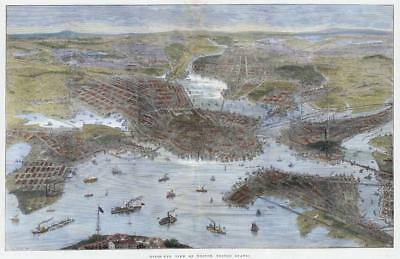 1872 LARGE Antique Print - USA Birds Eye Stunning View BOSTON City Harbour (HC28