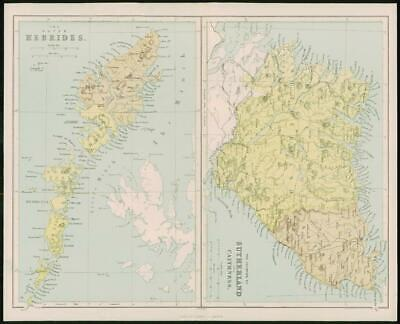 1868 Original Antique Map OUTER HEBRIDES SUTHERLAND CAITHNESS Scotland (FC11)