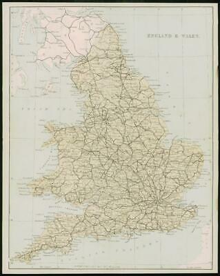 1868 - Original Colour Antique Map of ENGLAND & WALES by W Hughes (FC44)
