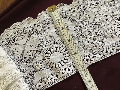 vintage hand-made Maltese lace length - snow white