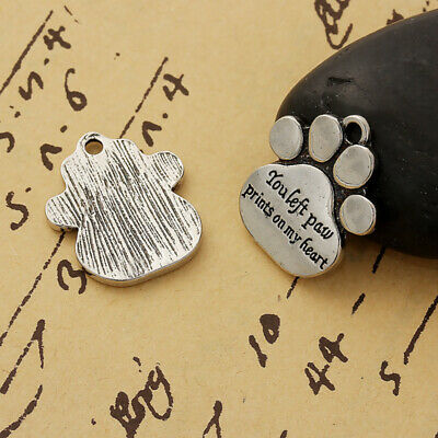 Pet Memorial 25mm Antiqued Silver Plated Charm Pendants C8934-2 5 Or 10PCs