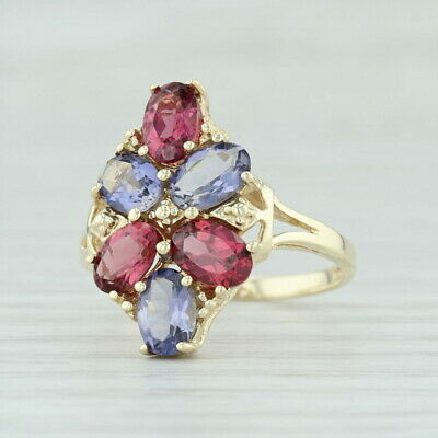 2.80ctw Iolite & Garnet Flower Cluster Ring - 10k Yellow Gold Size 7