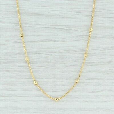 14k Yellow Gold Beaded Multi Strand Necklace 16 Inches
