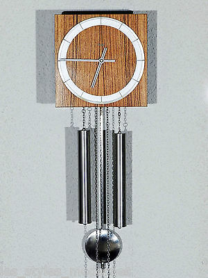 Kienzle Schwenningen Teak Wood Metal Wall Clock ° Design after Heinrich Möller