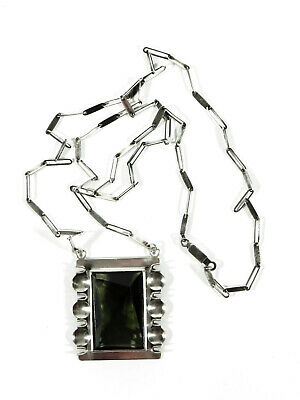 Pforzheim Art Deco Silver Smoky Topaz Necklace° 30s Unicum° Bauhaus Tradition