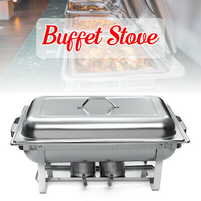 6L Cooks Stainless Steel Chafing Dish Lid Food Warmer Burner Tray Party Caterers