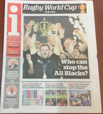The I  Newspaper Rugby World Cup Japan 2019 8 Page Guide Including Wallchart.