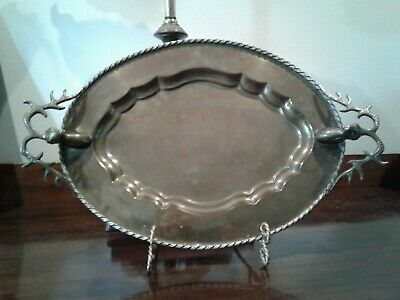 Vintage Solid Brass Hampton Brass Oval Serving Tray Stag Deer Head Handles India