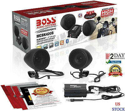 Motorcycle Stereo Speaker Audio System Bluetooth Amplifier WATERPROOF SPEAKERS.