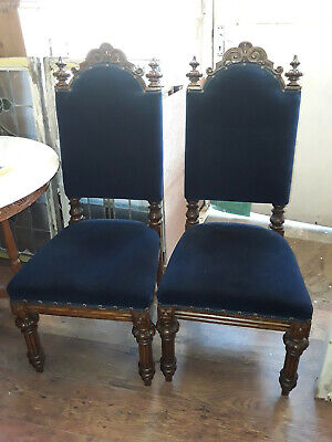 A Pair of Beautiful Original Solid Oak Gothic Throne style Church Chairs.