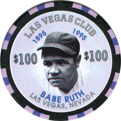Las Vegas Club - Babe Ruth - $100 Casino Chip (Numbered)
