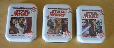 3 x Star Wars The Last Jedi Trading Cards Tins with 1 Limited Edition Card - New