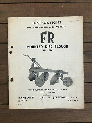Ransomes Td 17B Disc Plough Operators Instruction Book Tractor Manual Fr Ford