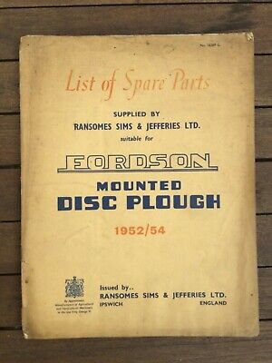 FORDSON DISC PLOUGH RANSOMES OPERATORS INSTRUCTION BOOK TRACTOR MANUAL 50s