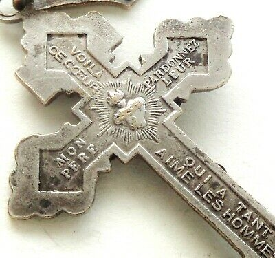 Beautiful Antique Crucifix Medal Pendant - Sacred Heart - Forgive Them Father