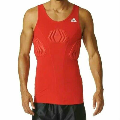*NEW* Adidas Basketball Men's Padded Tank Top Red Techfit Compression S05380 2XL