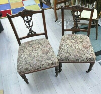 Pair Antique Victorian Tapestry Nursing Chairs, Bedroom Chairs, Hall Chairs