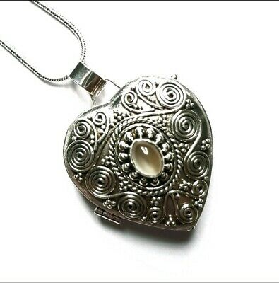 Poison Box Heart Pendant Locket Sterling Silver Moonstone Crystal Ashes Necklace