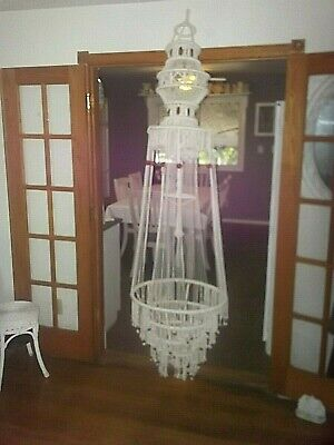 vtg Macrame 60s 70s Hanging Planter floating Table 7 ft hippie boho 13 tiered