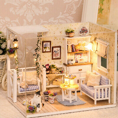Doll House Furniture Diy Miniature 3D Wooden Miniaturas Dollhouse Kitten Diary