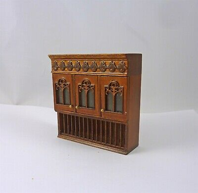 Dollhouse Miniature Bespaq Walnut Upper Cabinet w/ Plate Rack, 8203NWN