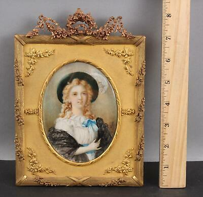 Antique French Lusas Miniature Painting Mme Vigee Le Brun Gilt Brass Frame