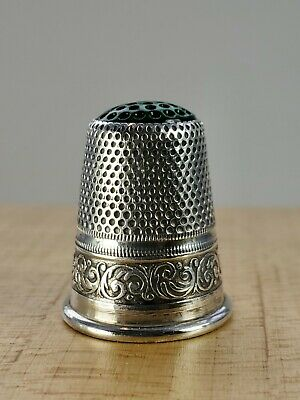 Vtg. Antique Sterling Silver Thimble Germany Green Glass Top
