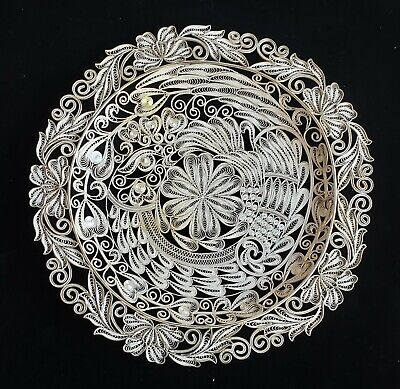 Extremely Ornate/Busy 10 inch Silver, Sterling? 800?  Filagree Charger or Plate