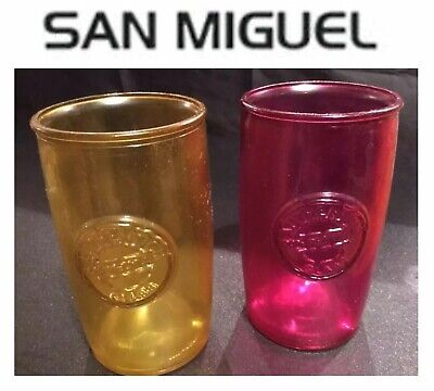 TWO Authentic San Miguel 100% Recycled Glass Tumblers-Red & Yellow Collectible