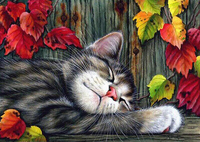 Full Drill Cat Leaves DIY 5D Diamond Painting Cross Crafts Stitch Embroidery Kit