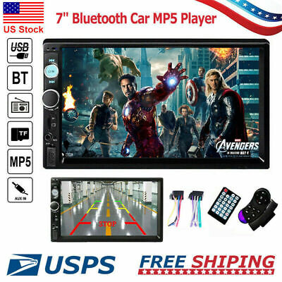 "7"" Car Radio MP5 Player Bluetooth Touch Screen Stereo USB AUX Camera Double 2DIN"