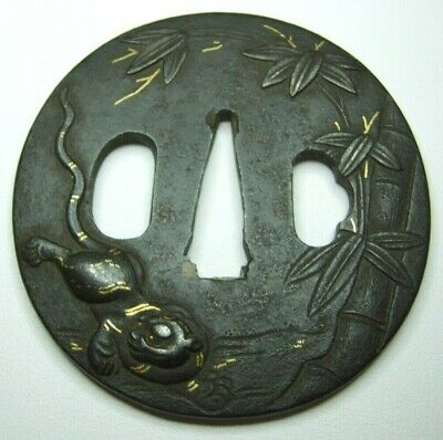 Tiger - Very Old Iron W/ Gold Work Japanese Tsuba - Copper Refit Inserts