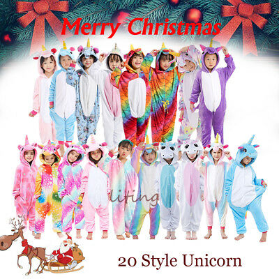Kids Animal Kigurumi Pajamas  Unicorn Cosplay Costume rainbow Onesii Sleepwear