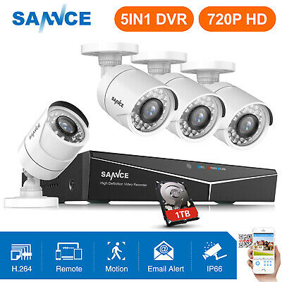 SANNCE 8CH 1080P HDMI 5in1 DVR 1500TVL Outdoor CCTV Security Camera System 1TB