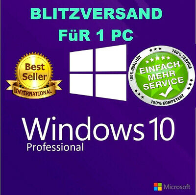 MS Windows 10 Professional Key Schlüssel win 10 pro Key DE Blitzversand E-Mail 1