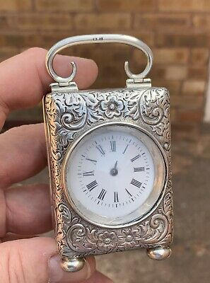 A Small Antique Solid Silver Carriage Clock, Spares Or Restoration, Birm 1898...