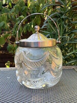 Antique Rodgers Silver Plate Cut Glass Biscuit Barrel
