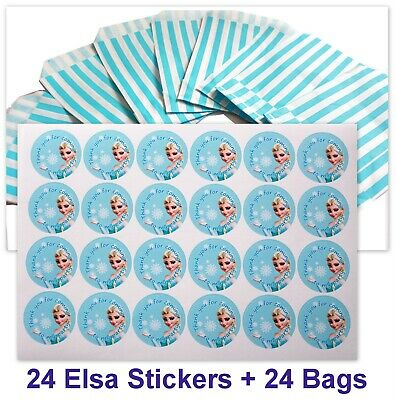 24x Frozen Elsa Birthday Party Stickers (30mm) with Baby Blue Candy Bags Pack 24