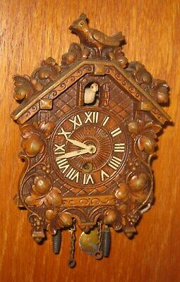 Working w/ Key Miniature Sycroco Wood CUCKOO CLOCK by LUX CLOCK Mfg. Made in USA