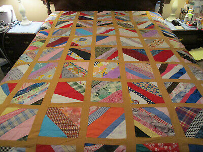 Vintage Fabric Pieced Quilt Top w/ Gold Sashing