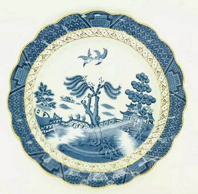"""VINTAGE Booths Real Old Willow Blue Gold Edge Trim A8025 10.25"""" Dinner Plate"""